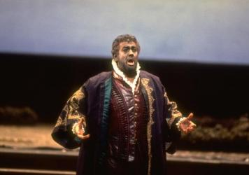 Tenor Placido Domingo performs the title role in a 1994 performance of Verdi's <em>Otello</em> at the Metropolitan Opera in New York.