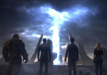 From left: Ben Grimm (Jamie Bell), Johnny Storm (Michael B. Jordan), Reed Richards (Miles Teller), Sue Storm (Kate Mara) in the new <em>Fantastic Four</em>.