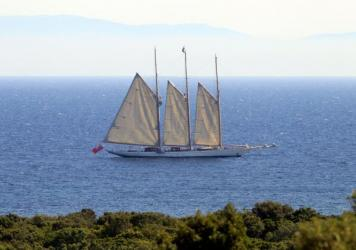 The yacht Adix, owned by Spanish billionaire Jaime Botin, sails off the coast of Corsica on Aug. 4, four days after French customs officials seized a Picasso painting on board.   The painting has been valued at around $28 million.