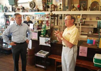 Lindsey Graham (left) and Bob Schroeder at Robie's Country Store, in Hooksett, N.H.