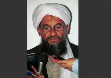 A 1998 file photo of Ayman al-Zawahri speaking at a news conference in Khost, Afghanistan. The reclusive al-Qaida leader says he has pledged support to the new chief of the Taliban, Mullah Akhtar Mansoor.