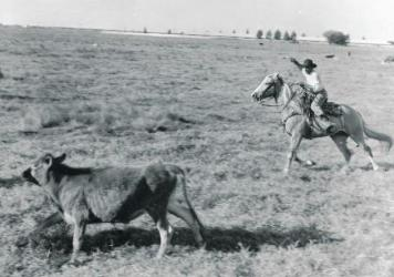 "A caption from the exhibit: ""Black cowboy at work on U.S. Sugar Corporation land near Clewiston, Florida, about 1947."""