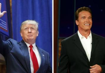 Donald Trump (left) arrives to announce his bid to run for president on June 16. Arnold Schwarzenegger (right) appeared on the <em>Tonight Show with Jay Leno</em> and announced he was running for governor of California on Aug. 6, 2003.