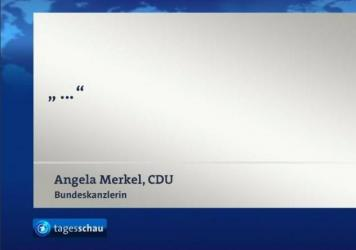 Germany's prime-time television news show quotes Merkel's silence over the weekend.