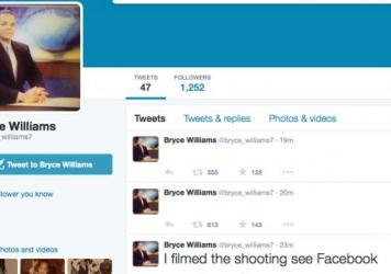 A screen grab shows the Twitter page of Bryce Williams, whose real name is Vester Lee Flanagan II, who police say fatally shot WDBJ-TV cameraman Adam Ward and reporter Alison Parker during a live broadcast early Wednesday. After the attack, Flanagan reportedly sent a fax to ABC News.