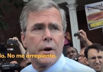 Jeb Bush's comments on immigration are featured in a new attack ad from Democratic SuperPAC Priorities Action USA.