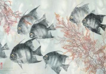 <strong>Fishing for fine art: </strong>Gyotaku, the art of making inked prints from real fish, originated in 19th century Japan. Above, three examples from modern Gyotaku artist Heather Fortner (from left):<em> Under the Rainbow Rainbow Trout</em>;<em> L