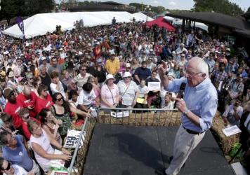 Vermont Sen. Bernie Sanders speaks at the Iowa State Fair. A new poll out Saturday shows Sanders gaining on front-runner, Hillary Clinton.