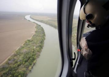 U.S. Customs and Border Protection Air and Marine agents patrol the Rio Grande in Texas on the border with Mexico.