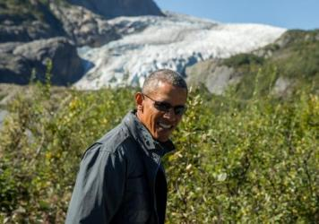 President Obama on a hike to the Exit Glacier in Seward, Alaska, on Tuesday.