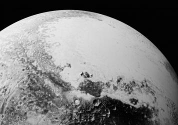 This view of Pluto is based on high-resolution images taken on by NASA's New Horizons spacecraft and shows a diverse and complex surface variety.