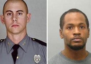Images released by the Kentucky State Police show Trooper Cameron Ponder, left, and the man suspected of killing him, Joseph Thomas Johnson-Shanks.