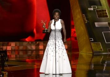 Viola Davis accepts the award for outstanding lead actress in a drama series for <em>How to Get Away With Murder</em> at the 67th Primetime Emmy Awards on Sunday, Sept. 20, 2015, at the Microsoft Theater in Los Angeles.
