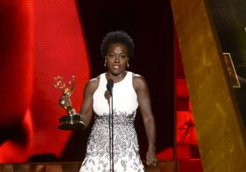 Viola Davis accepts the Emmy for outstanding Best Actress in a Drama series for <em>How to Get Away With Murder</em> at the 67th Primetime Emmy Awards on Sunday in Los Angeles.