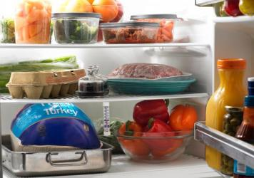 Your refrigerator is coldest on bottom and warmest on top, says Dana Gunders. So store items that need to be colder, like meats, on the bottom and those that don't need to be quite as cold, like yogurt, higher up.