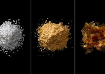 From left: Sodium benzoate, azodicarbonamide, shellac. The images are from <em>Ingredients: A Visual Exploration of 75 Additives & 25 Food Products.</em>