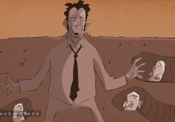 A scene from a PBS animated interview with Tom Waits.