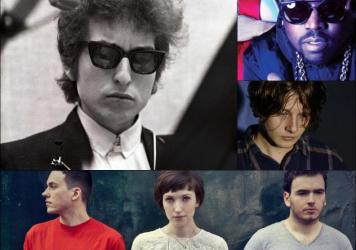 Clockwise from upper left: Bob Dylan, Big Grams, Bill Ryder-Jones, Daughter