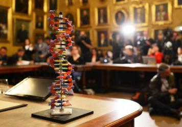The model of a DNA stands on a desk during a press conference to announce the winners of the Nobel Prize in Chemistry 2015 on Wednesday at the Royal Swedish Academy of Sciences in Stockholm. Sweden's Tomas Lindahl, Paul Modrich of the US and Turkish-American Aziz Sancar won the Nobel Chemistry Prize for work on how cells repair damaged DNA.