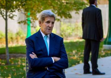 "Secretary of State John Kerry spoke at Indiana University on Thursday. ""If Russia is [in Syria] to uphold Assad, and fake it with respect to the extremists and terrorists, that's a serious problem,"" he told NPR's Steve Inskeep."