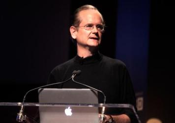 Democratic presidential candidate Lawrence Lessig speaks at WIRED BizCon in New York City in 2014.