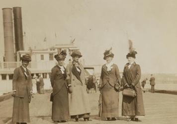 A group of anti-suffrage leaders who organized a barge excursion up the Hudson River for a Decoration Day picnic in New York, 1913 (from left): Mrs. George Phillips, Mrs. K.B. Lapham, Miss Burnham, Mrs. Everett P. Wheeler, Mrs. John A. Church.