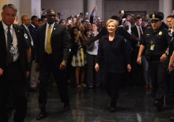 Hillary Clinton arrives to testify before the House Select Committee on Benghazi on Thursday.