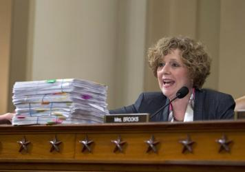 House Benghazi Committee member Rep. Susan Brooks, presents copies of a collection of emails suggesting that Hillary Clinton lost interest in Libya in the months before the deadly attacks in Benghazi.