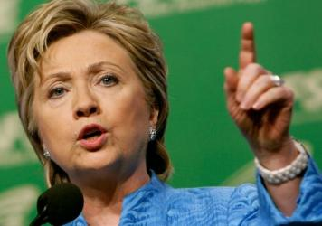 Hillary Clinton addressing the American Federation of State, County and Municipal Employees, or AFSCME, during its National Leadership Conference in 2007.