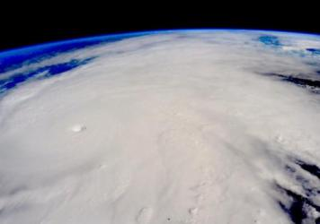 This image shows Hurricane Patricia, a Category 5 storm, blasting toward southwestern Mexico on Friday. The photo was taken from the International Space Station.