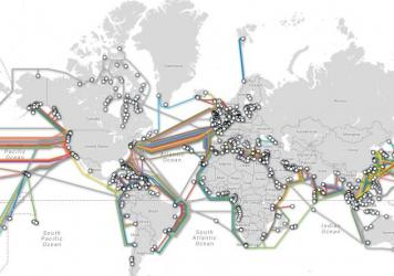 Map of submarine cable systems and their landing stations.