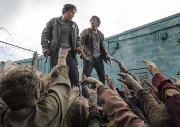 Could this be the end for Glenn? The fan favorite character was seen last week tumbling off this dumpster into a throng of the undead.