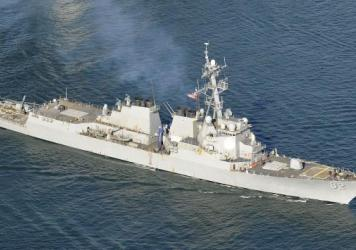 This February 2012 shows the U.S. guided-missile destroyer Lassen. The U.S. Navy is sending the warship within 12 nautical miles (around 22 kilometers) of islands artificially created by China in the South China Sea.