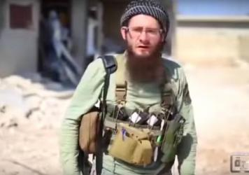 A screenshot of Lucas Kinney, a 26-year-old Briton who recently began making videos for Jabhat al-Nusra, the al-Qaida affiliate in Syria. Kinney's father is a veteran Hollywood assistant director who helped make such films as <em>Rambo</em> and the Indiana Jones series.