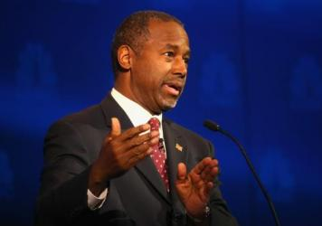 Republican Ben Carson speaks during the Republican presidential debate Wednesday night.