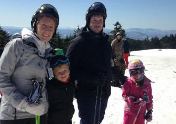 Paige and Bjorn Bellenbaum pose while on a skiing trip with their two kids, Max, 9, and Ella, 7. After Paige sought help for what she learned to be postpartum depression, the Bellenbaums say they feel stronger now.