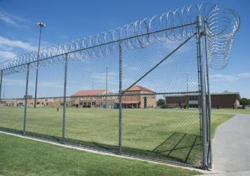 The prison yard at the El Reno Federal Correctional Institution in El Reno, Oklahoma, July 16, 2015, is seen during a visit by U.S. President Barack Obama. Obama has advocated for prison reform during his time in office. This weekend, thousands of inmates are being released as the result of some changes in federal sentencing guidelines.