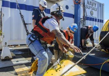 Investigators onboard the USNS Apache retrieved the tow pinger that was used to look for El Faro's voyage data recorder on Oct. 24. Although the wreckage of the ship has been found, the recorder is still missing.