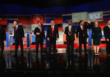 Eight GOP presidential candidates on stage before Tuesday's debate.