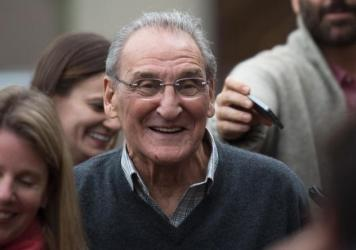 Vincent Asaro leaves Brooklyn federal court on Thursday, after being acquitted of charges he helped plan a legendary 1978 Lufthansa heist retold in the hit film <em>Goodfellas.</em>
