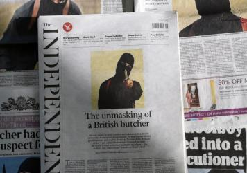 British daily newspapers from earlier this year showed the masked killer now identified as ISIS leader Mohamed Emwazi. He was targeted Thursday by the U.S. in an airstrike in Raqqa, Syria.