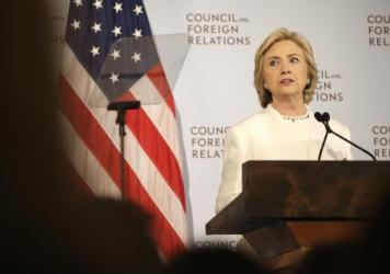 Hillary Clinton speak about her plan to fight the Islamic State militant group at the Council on Foreign Relations in New York.