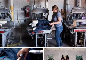 "(Top) A worker at Blue Creations prepares a pair of blue jeans for a crinkle effect known as ""3-D whiskers."" (Bottom) Employees at Blue Creations apply the destruction/distressing process to jeans by sanding, ripping and tearing them on molds."