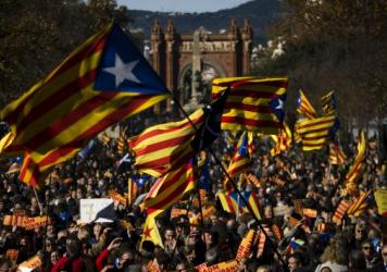 Demonstrators show support for Catalan independence during a protest last week in Barcelona. Spain's Constitutional Court has now ruled that a Nov. 9 declaration of independence by Catalan's regional parliament is unconstitutional.