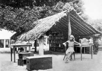 August Engelhardt stands underneath a palm tree with the Berlin concert pianist Max Lützow at his feet. Lützow went to Kabakon to join Engelhardt's sun-worshipping cocovore cult, The Order of the Sun. He died there, as did several other followers.