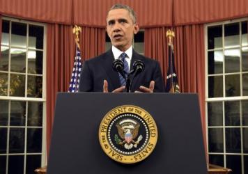President Barack Obama addressed the nation from the Oval Office at the White House on Sunday night.
