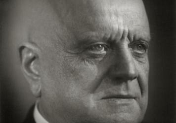 Finnish composer Jean Sibelius, photographed at Ainola, his home outside Helsinki, in the 1940s.