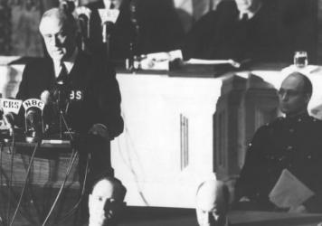 President Franklin D. Roosevelt addressed Congress on Dec. 8, 1941, a day after the Pearl Harbor attacks to ask for a declaration of war against Japan.
