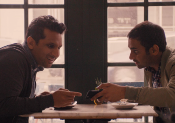 "Dev (Aziz Ansari) tells Ravi (Ravi Patel) that the ""Indian"" actor Ravi's admired is actually a white guy in brown face."