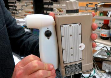 This second-generation prototype of marijuana field tester being developed at Washington State University is larger than the planned final product.